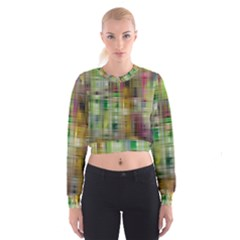 Woven Colorful Abstract Background Of A Tight Weave Pattern Cropped Sweatshirt