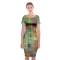 Woven Colorful Abstract Background Of A Tight Weave Pattern Classic Short Sleeve Midi Dress