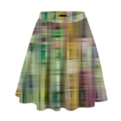 Woven Colorful Abstract Background Of A Tight Weave Pattern High Waist Skirt