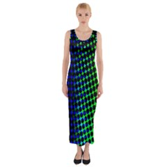 Digitally Created Halftone Dots Abstract Fitted Maxi Dress
