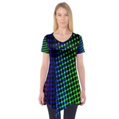 Digitally Created Halftone Dots Abstract Short Sleeve Tunic