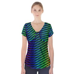 Digitally Created Halftone Dots Abstract Short Sleeve Front Detail Top