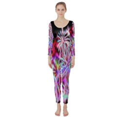 Fractal Fireworks Display Pattern Long Sleeve Catsuit by Nexatart