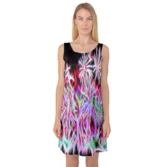 Fractal Fireworks Display Pattern Sleeveless Satin Nightdress
