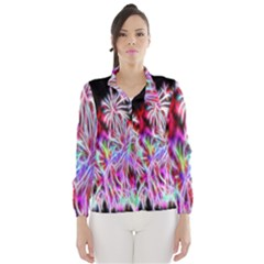 Fractal Fireworks Display Pattern Wind Breaker (women)