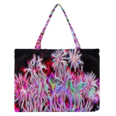 Fractal Fireworks Display Pattern Medium Zipper Tote Bag