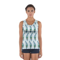 Background Of Beautiful Peacock Feathers Women s Sport Tank Top