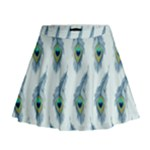 Background Of Beautiful Peacock Feathers Mini Flare Skirt