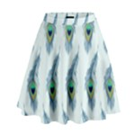 Background Of Beautiful Peacock Feathers High Waist Skirt