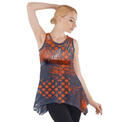 Dark Blue Red And White Messy Background Side Drop Tank Tunic