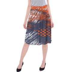 Dark Blue Red And White Messy Background Midi Beach Skirt