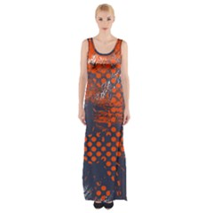 Dark Blue Red And White Messy Background Maxi Thigh Split Dress