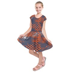 Dark Blue Red And White Messy Background Kids  Short Sleeve Dress