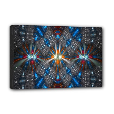 Fancy Fractal Pattern Background Accented With Pretty Colors Deluxe Canvas 18  X 12   by Nexatart