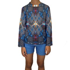 Fancy Fractal Pattern Background Accented With Pretty Colors Kids  Long Sleeve Swimwear
