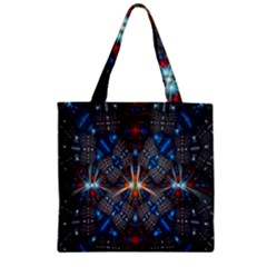 Fancy Fractal Pattern Background Accented With Pretty Colors Zipper Grocery Tote Bag