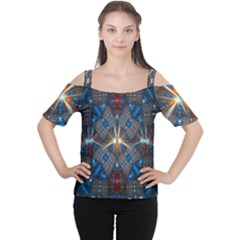 Fancy Fractal Pattern Background Accented With Pretty Colors Women s Cutout Shoulder Tee