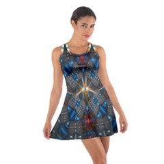 Fancy Fractal Pattern Background Accented With Pretty Colors Cotton Racerback Dress