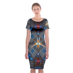 Fancy Fractal Pattern Background Accented With Pretty Colors Classic Short Sleeve Midi Dress by Nexatart