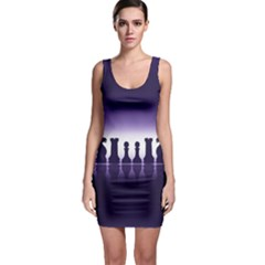 Chess Pieces Sleeveless Bodycon Dress by Valentinaart