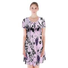 Floral Pattern Background Short Sleeve V Neck Flare Dress