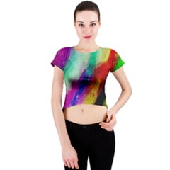 Colorful Abstract Paint Splats Background Crew Neck Crop Top