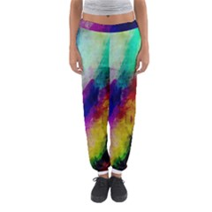 Colorful Abstract Paint Splats Background Women s Jogger Sweatpants