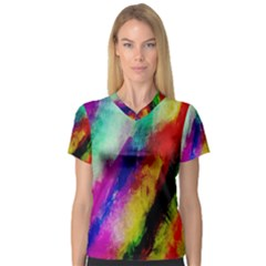 Colorful Abstract Paint Splats Background Women s V Neck Sport Mesh Tee