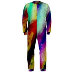Colorful Abstract Paint Splats Background Onepiece Jumpsuit (men)