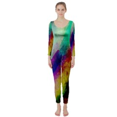 Colorful Abstract Paint Splats Background Long Sleeve Catsuit