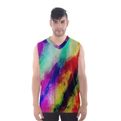 Colorful Abstract Paint Splats Background Men s Basketball Tank Top