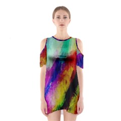 Colorful Abstract Paint Splats Background Shoulder Cutout One Piece