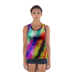 Colorful Abstract Paint Splats Background Women s Sport Tank Top