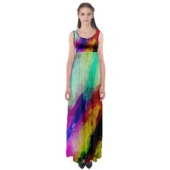 Colorful Abstract Paint Splats Background Empire Waist Maxi Dress