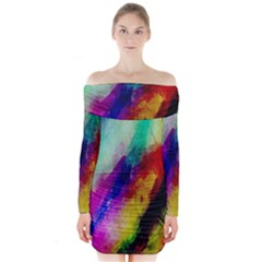 Colorful Abstract Paint Splats Background Long Sleeve Off Shoulder Dress