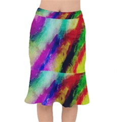 Colorful Abstract Paint Splats Background Mermaid Skirt by Nexatart