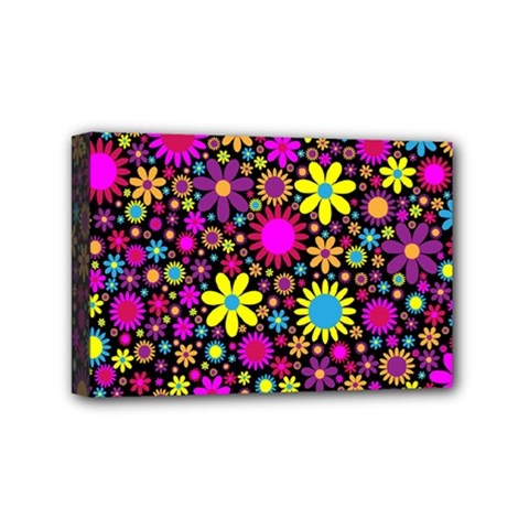 Bright And Busy Floral Wallpaper Background Mini Canvas 6  X 4