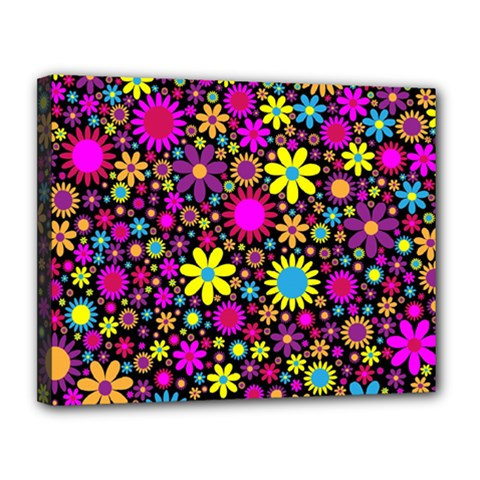 Bright And Busy Floral Wallpaper Background Canvas 14  X 11  by Nexatart