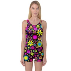 Bright And Busy Floral Wallpaper Background One Piece Boyleg Swimsuit