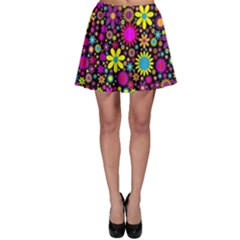Bright And Busy Floral Wallpaper Background Skater Skirt