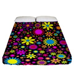 Bright And Busy Floral Wallpaper Background Fitted Sheet (queen Size)
