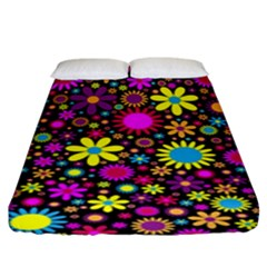 Bright And Busy Floral Wallpaper Background Fitted Sheet (king Size)