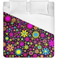 Bright And Busy Floral Wallpaper Background Duvet Cover (king Size) by Nexatart