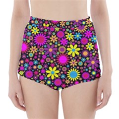 Bright And Busy Floral Wallpaper Background High Waisted Bikini Bottoms