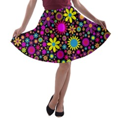 Bright And Busy Floral Wallpaper Background A Line Skater Skirt
