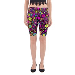 Bright And Busy Floral Wallpaper Background Yoga Cropped Leggings