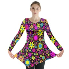 Bright And Busy Floral Wallpaper Background Long Sleeve Tunic