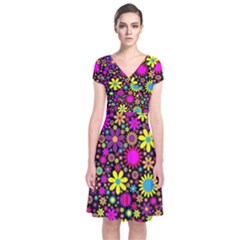 Bright And Busy Floral Wallpaper Background Short Sleeve Front Wrap Dress