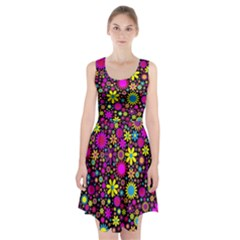 Bright And Busy Floral Wallpaper Background Racerback Midi Dress