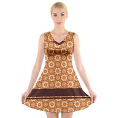 Floral Seamless Pattern Vector V Neck Sleeveless Skater Dress